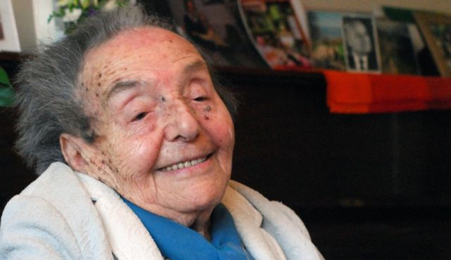 Alice Herz-Sommer, pictured here on her 107th birthday, is the subject of an Oscar-nominated documentary.