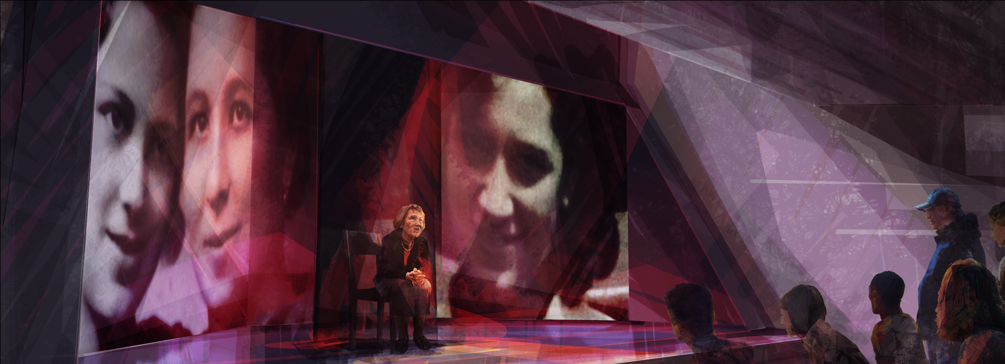 Rendering: A hologram of a Holocaust survivor speaks to museum visitors.