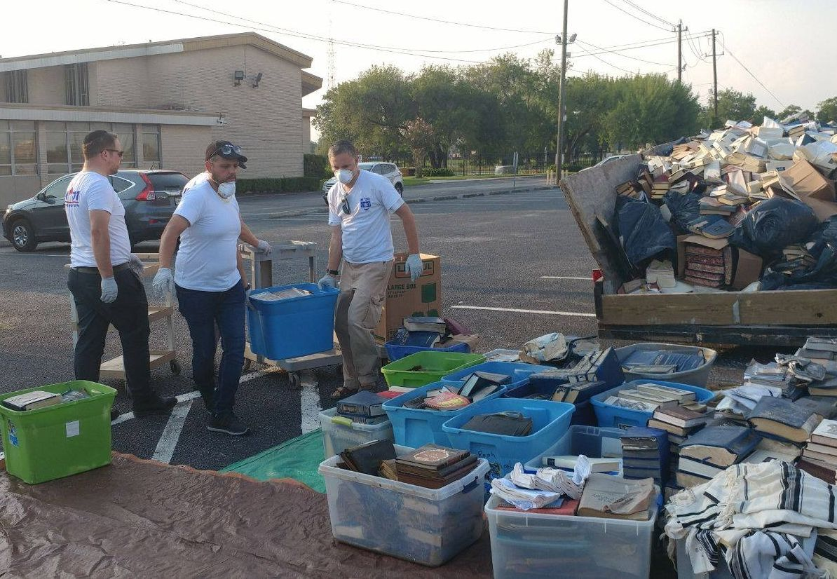ZAKA volunteers help clear out a synagogue in Houston damaged by flooding during Hurricane Harvey.