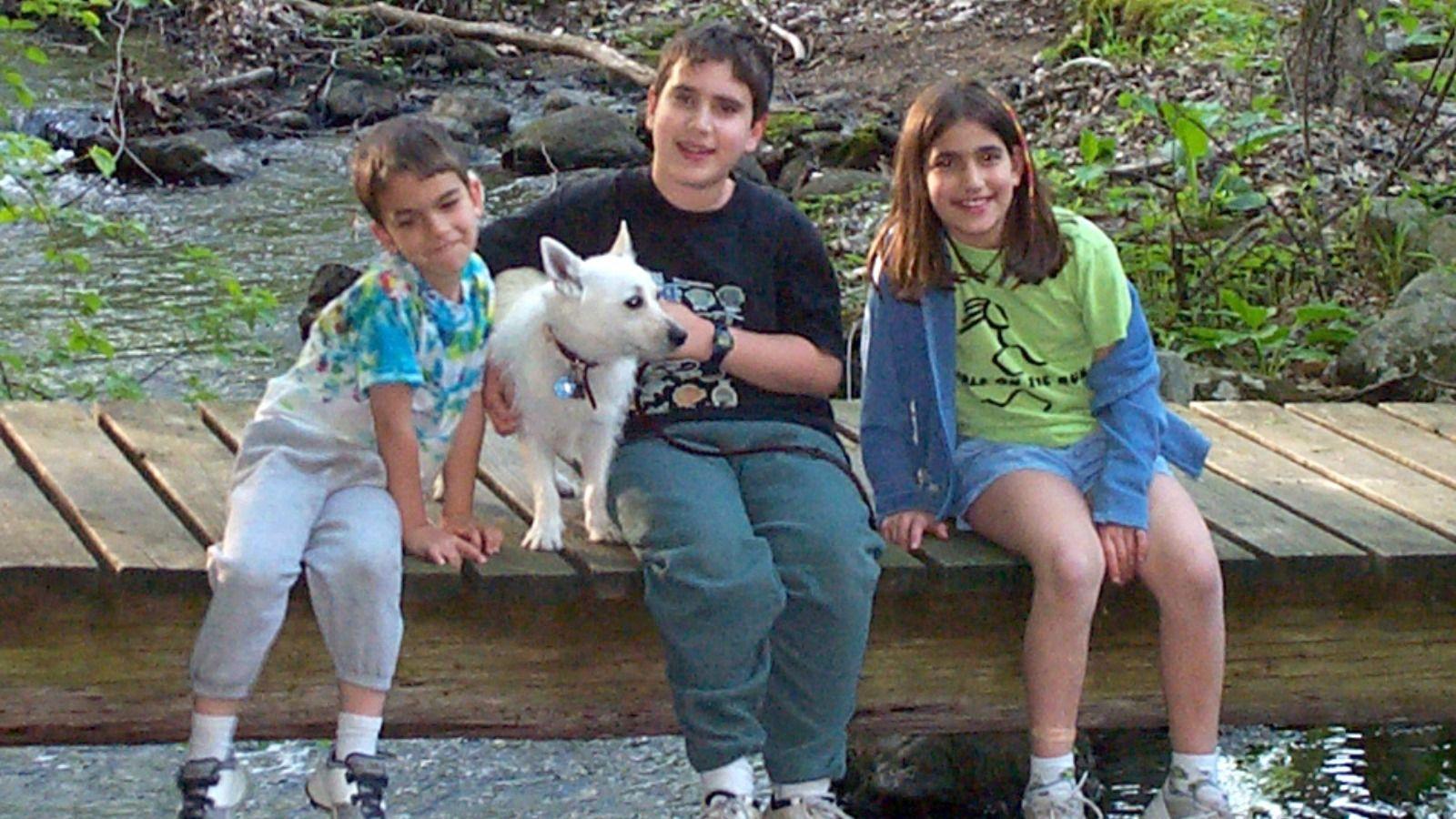 Rocki with his human siblings, circa 2001