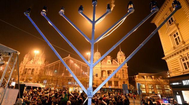 A crowd celebrates Hannukah in Nyugati square in Budapest.