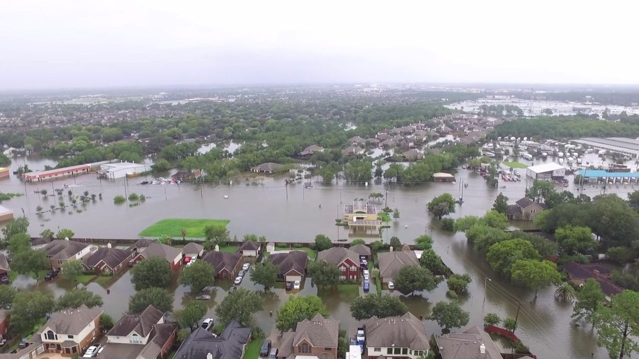 A screenshot from a drone video of Dickinson in the days after Hurricane Harvey.