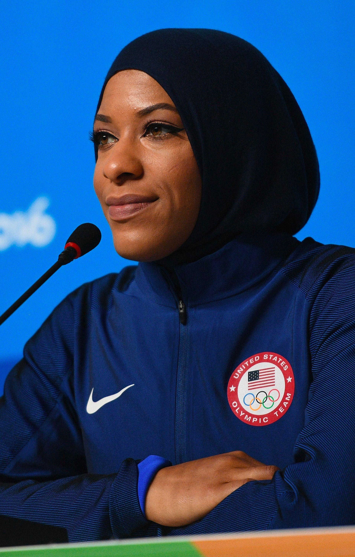 American Olympic fencer Ibtihaj Muhammad on August 4, 2016 in Rio de Janeiro, Brazil.