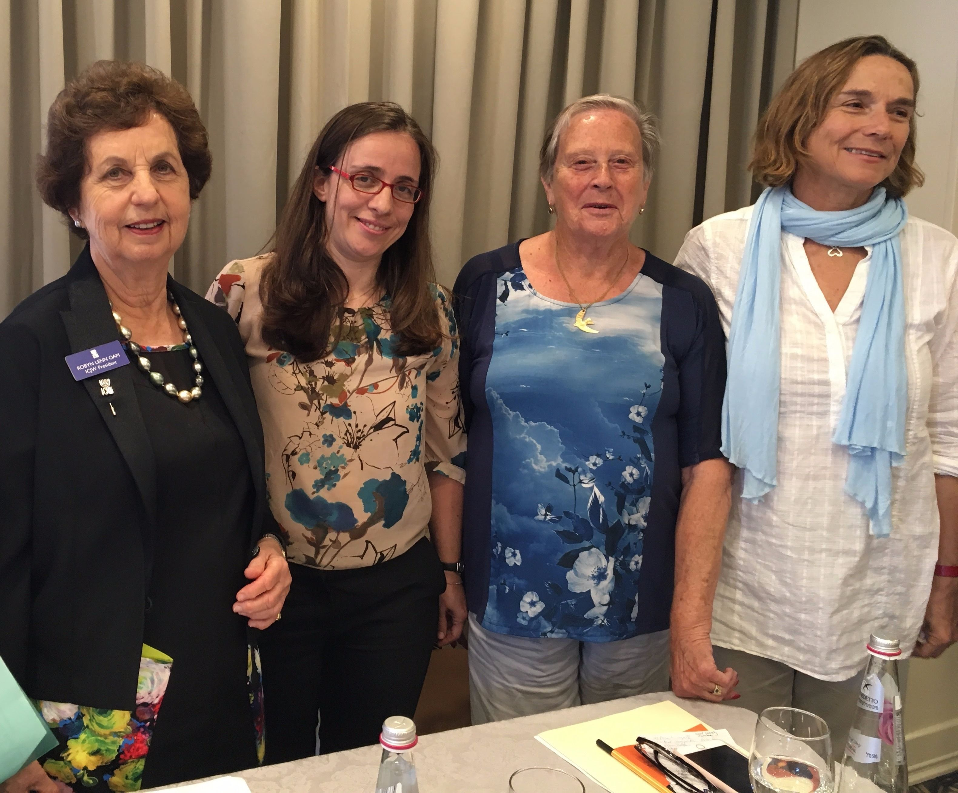 ICJW President Robyn Lenn, Anat Thon-Ashkenazy (Itach-Maaki), Roni Keidar (Other Voice) and Angela Yantian (Women Wage Peace)