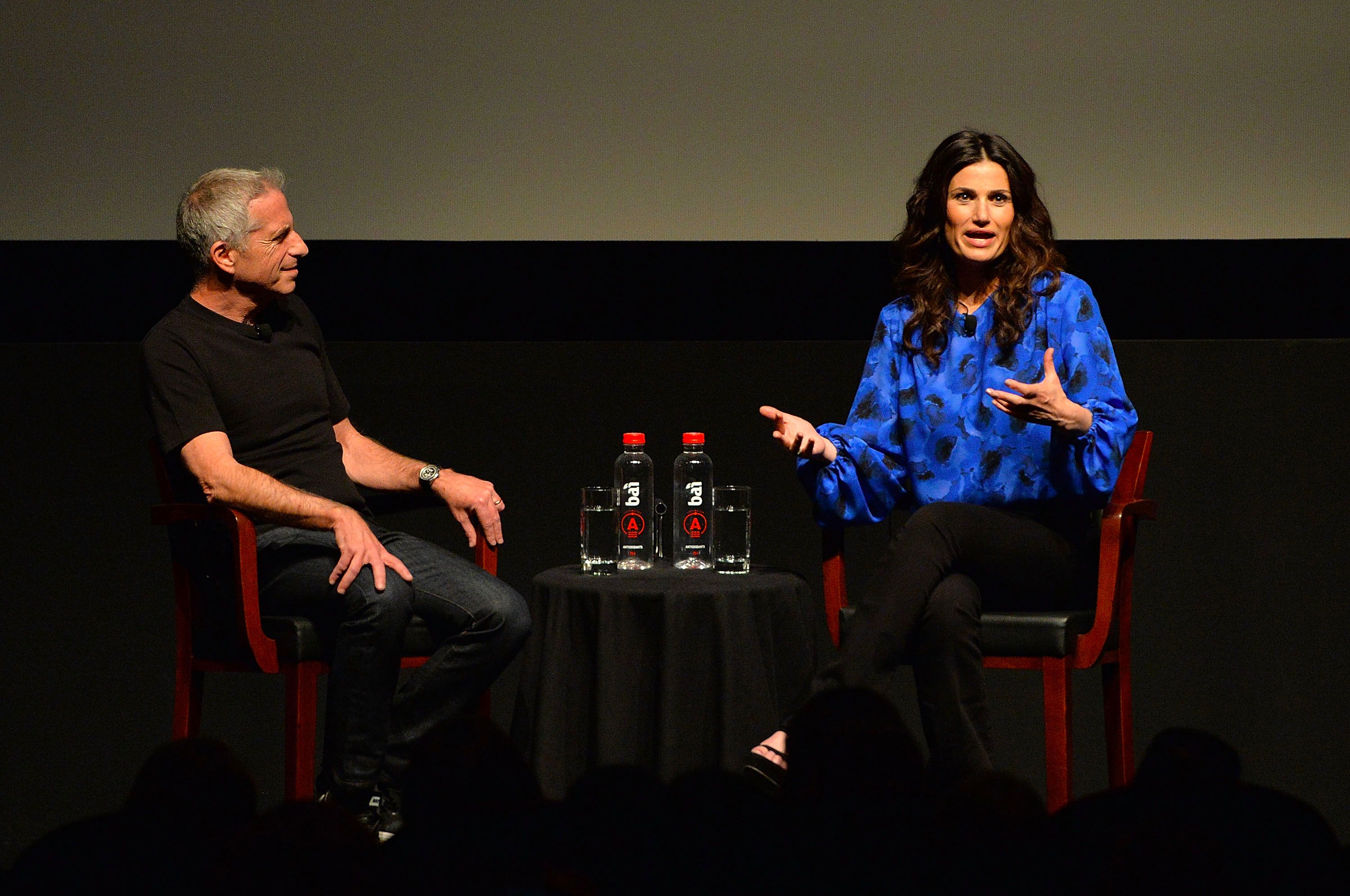"Film, TV and theater producer Marc Platt talks to actress Idina Menzel at ""Tribeca Talks Storytellers: Idina Menzel"" at SVA Theatre 1 on April 18, 2016 in New York City."