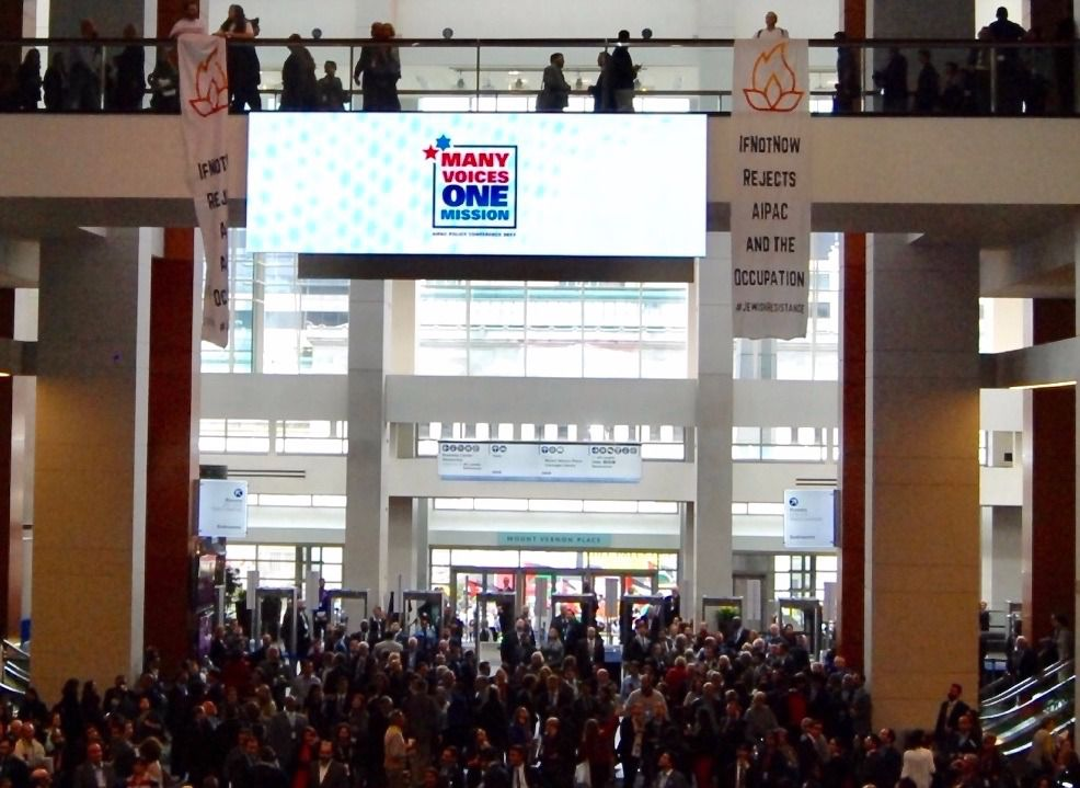 IfNotNow activists drop banners at AIPAC's annual policy conference, March 26, 2017