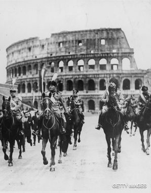 STATECRAFT: In Levi?s eyes, the fascist state had ancient sacrificial ritual at its root. Above Mussolini leads a 1932 parade marking the tenth anniversary of his reign.