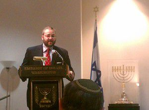 Joshua London speaking at the Israeli Embassy