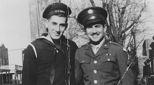 Decked Out: Irving Weissman (left), pictured with his brother, Bob Weissman, dressed in his wartime sailor's suit.