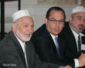 DIALOGUE: Imam Omar Abu-Namous (left) with Rabbi Marc Schneier at last week's conference on Muslim-Jewish understanding.