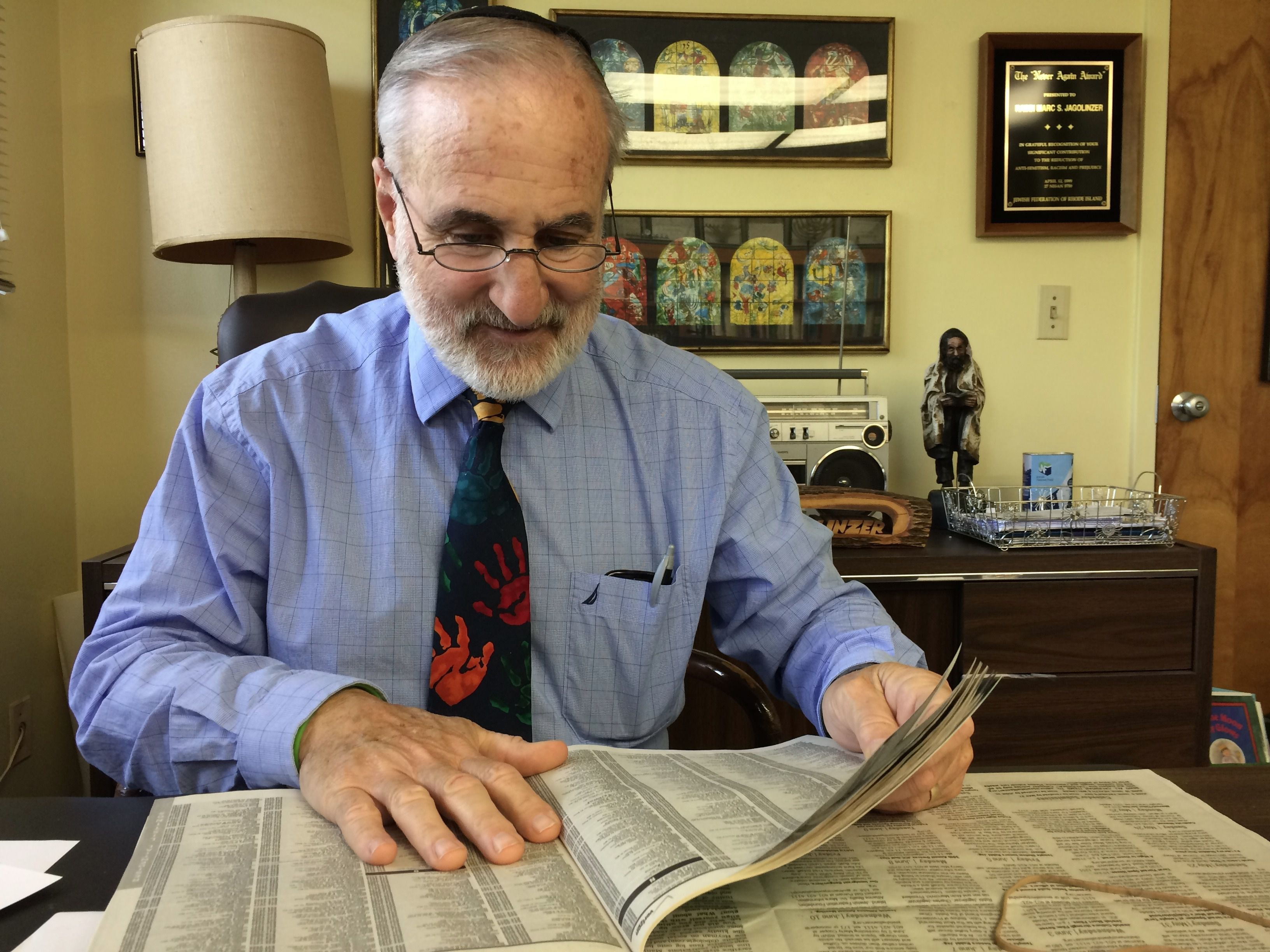 Dwindling Flock: Rabbi Marc Jagolinzer of Temple Shalom, in nearby Middletown, has seen his congregation expand and contract during the 40 years he has served the community.