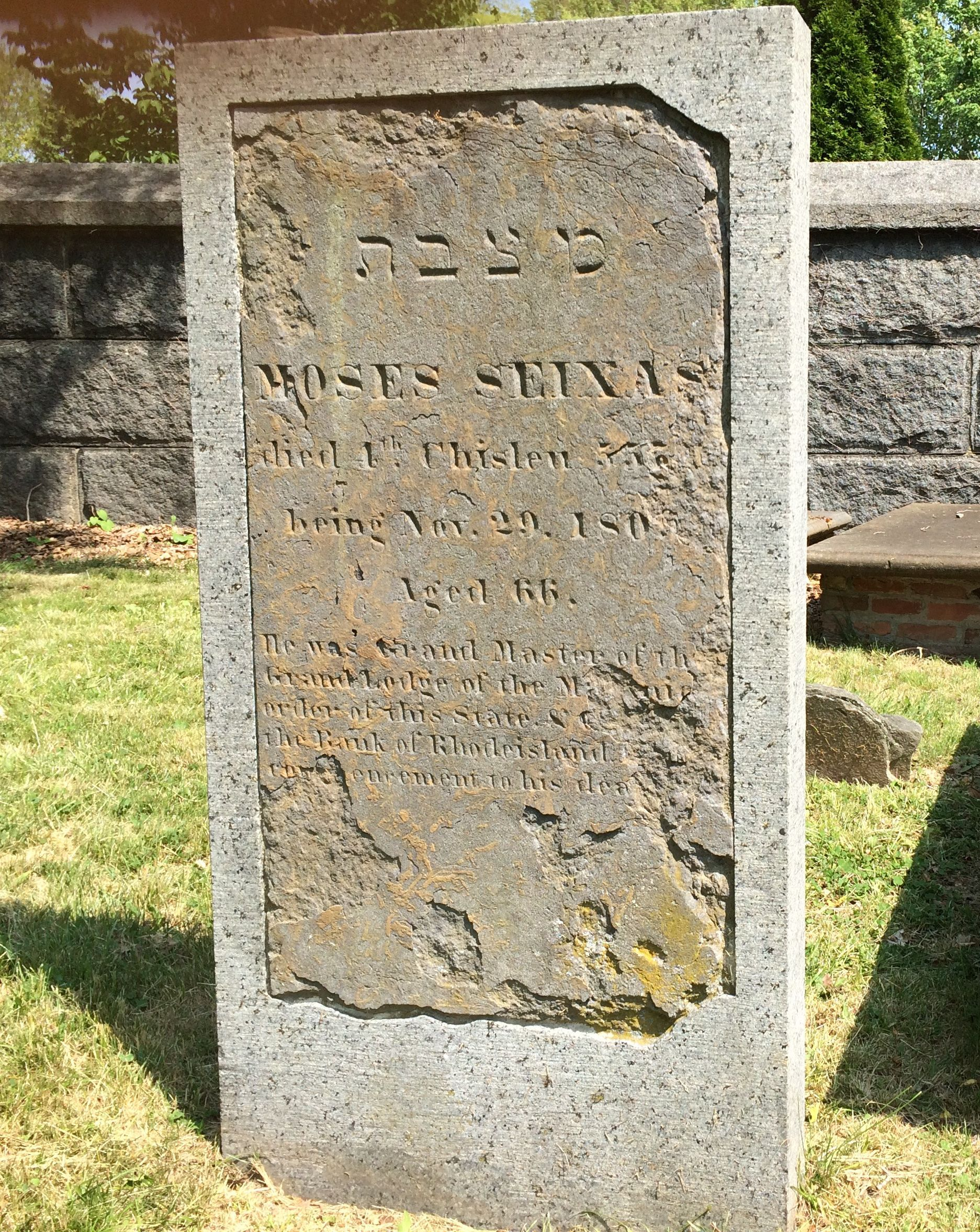Legacy: Moses Seixas is buried in the old Jewish cemetery at Newport. His address to George Washington, in 1790, inspired the president's famous 'Letter to the Jews of Newport, Rhode Island.'