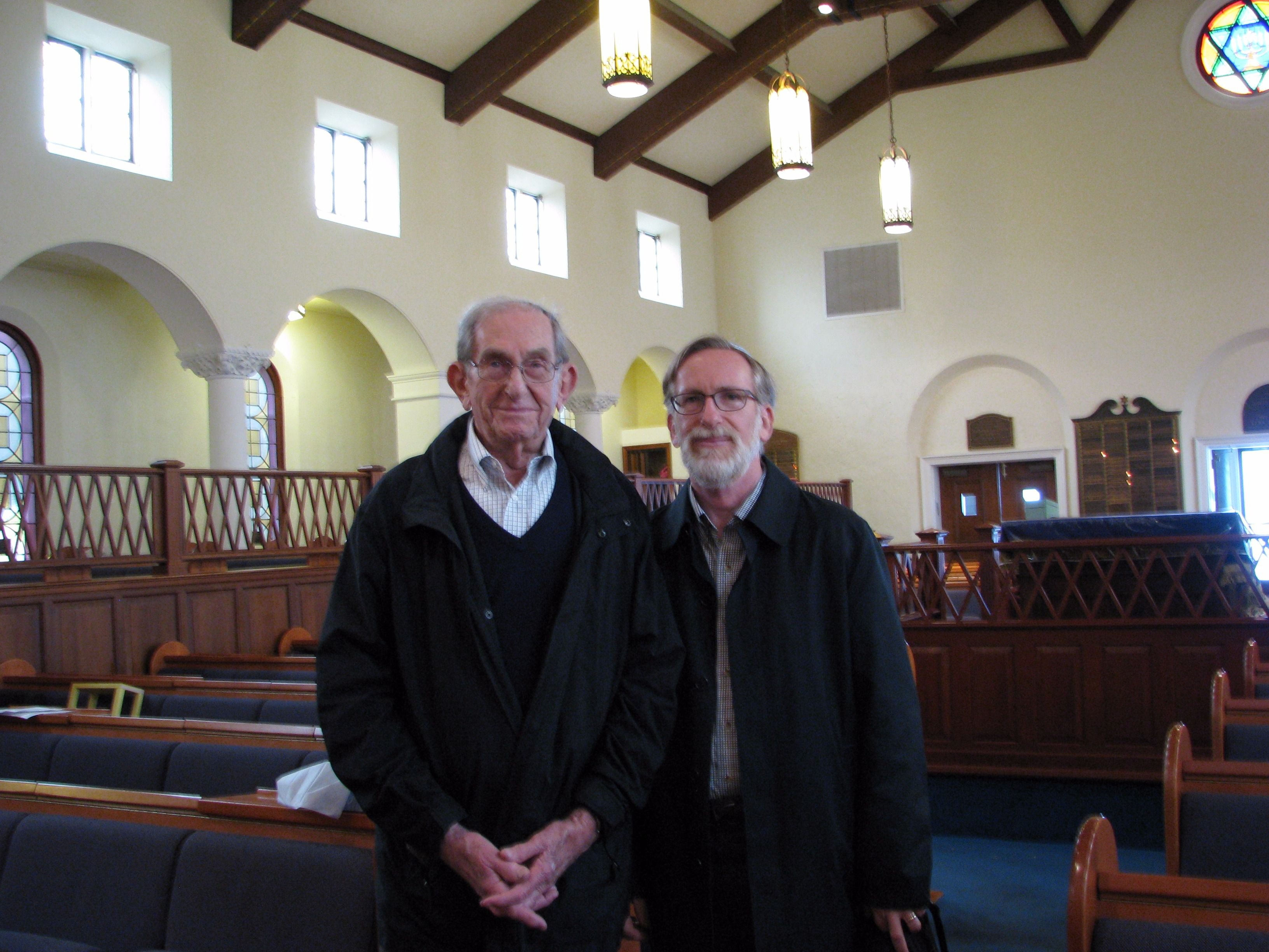 Father and Son: Kenneth (left) and Mark Berger pose in the B'nai Israel sanctuary.