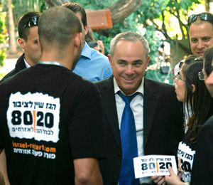 Activists: Members of the Israel Civic Action Forum, which advocates using energy revenue to fund education and other ser- vices, lobby Israeli Finance Minister Yuval Steinitz (center).