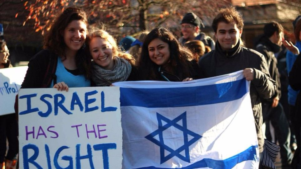 First Responders:Pro-Israel students at the University of Oregon demonstrate their solidarity with the state in response to anti-Israel protests on campus in November 2012. The protests were prompted by Israel military actions in Gaza at the time meant to hit Hamas.