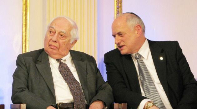 Chat: Bernard Lewis and Malcolm Hoenlein talk at the America-Israel Friendship League dinner.