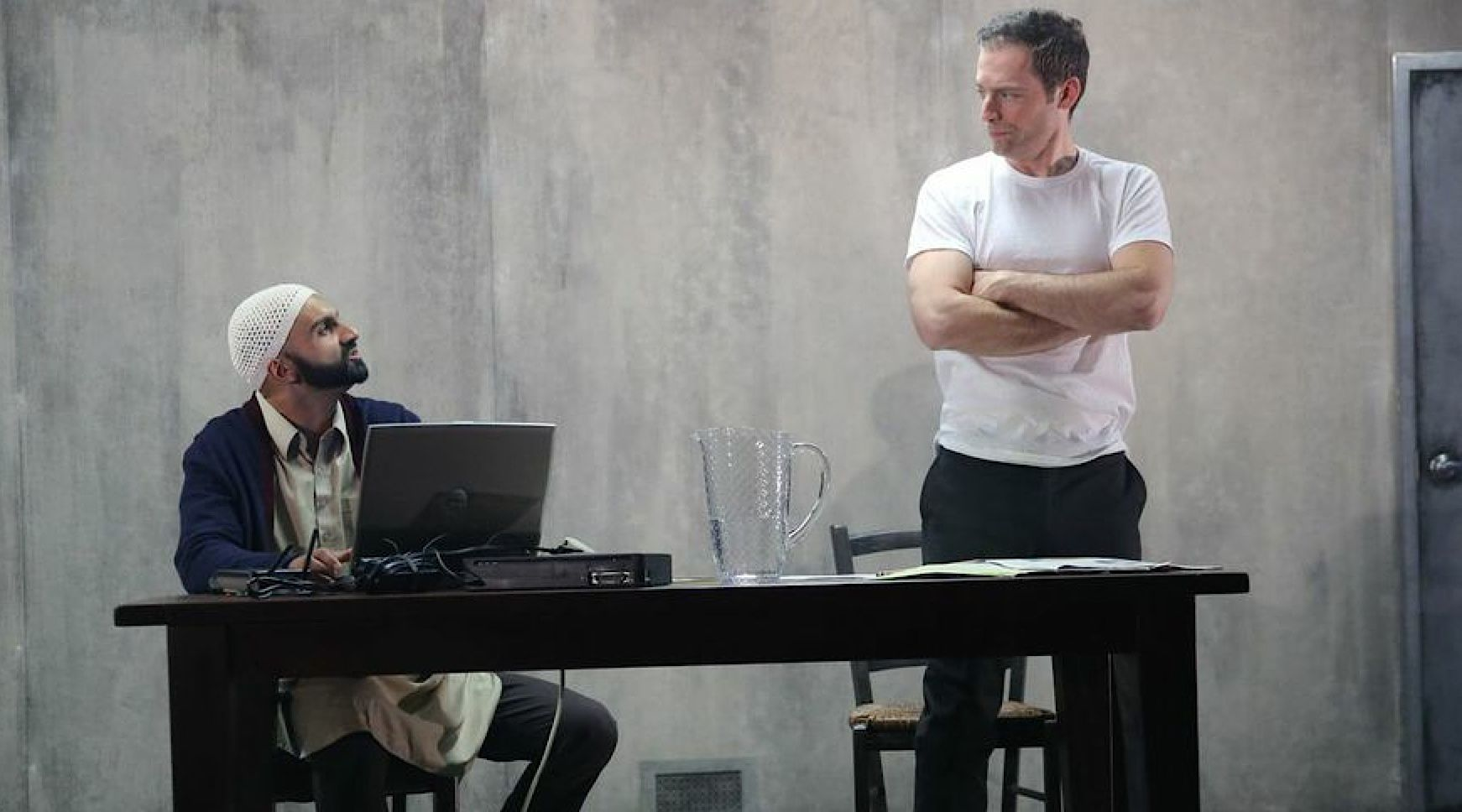 The Unseen Ally: Usman Ally and Justin Kirk in NYTW's 'The Invisible Hand.'