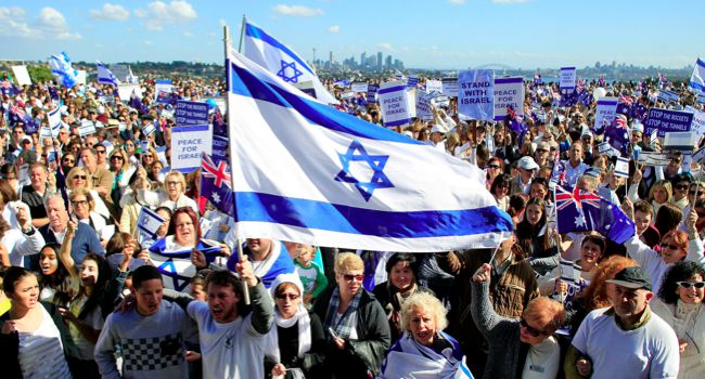 Raising the Flag: A Pro-Israel rally in Sydney, Australia this summer.
