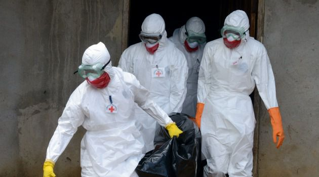 Medical workers of the Liberian Red Cross, wearing a protective suit, carry the body of a victim of the Ebola virus in a bag in the small city of Banjol.