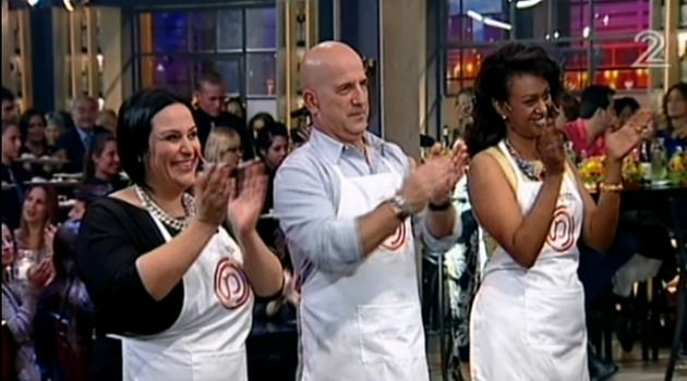 The three finalists of Israel?s reality show ?Master Chef?: Nof Atamna-Ismaeel, Ido Kronenberg and Meseret Woldimikhal.