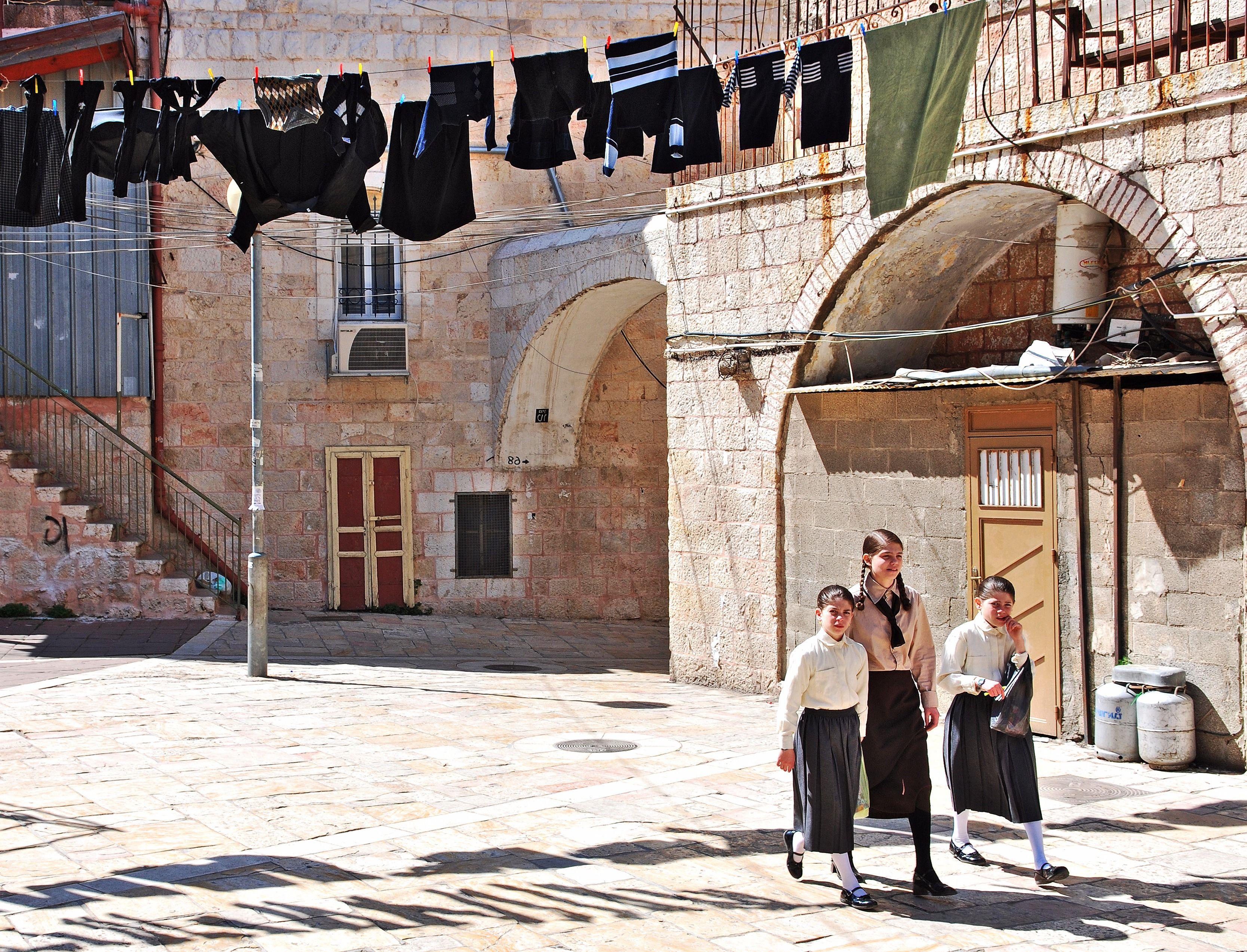 Young Orthodox Jewish girls walking in Jerusalem.