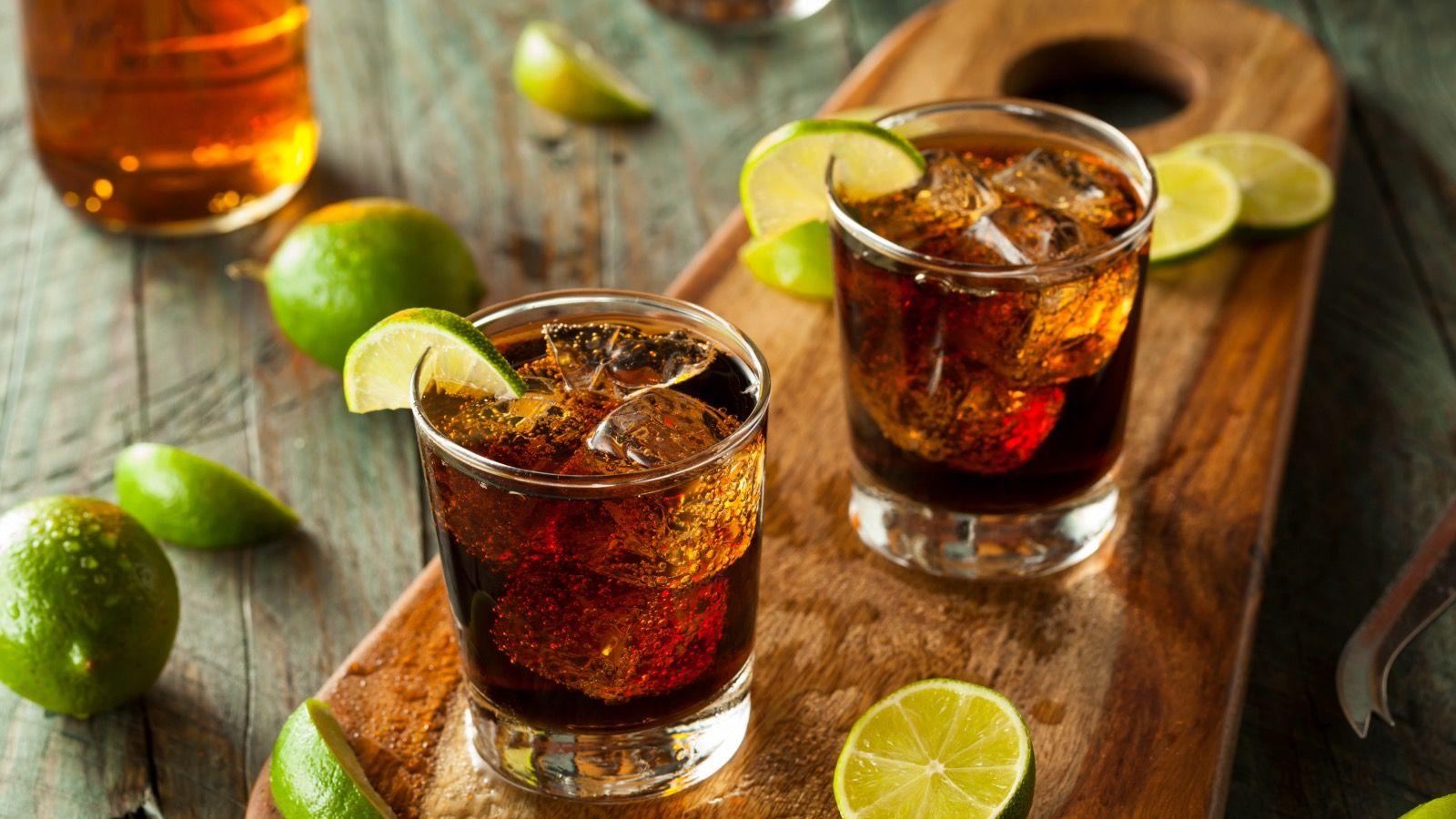 a rum and Cola Cuba Libre cocktail.