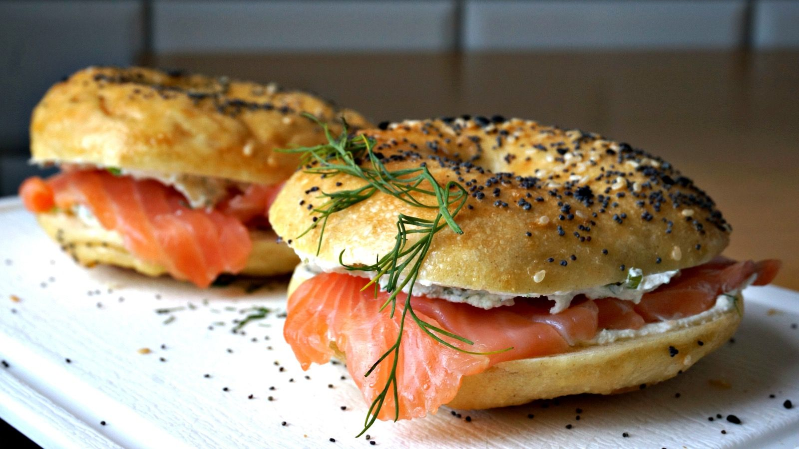 An appetizing classic: bagels and lox.