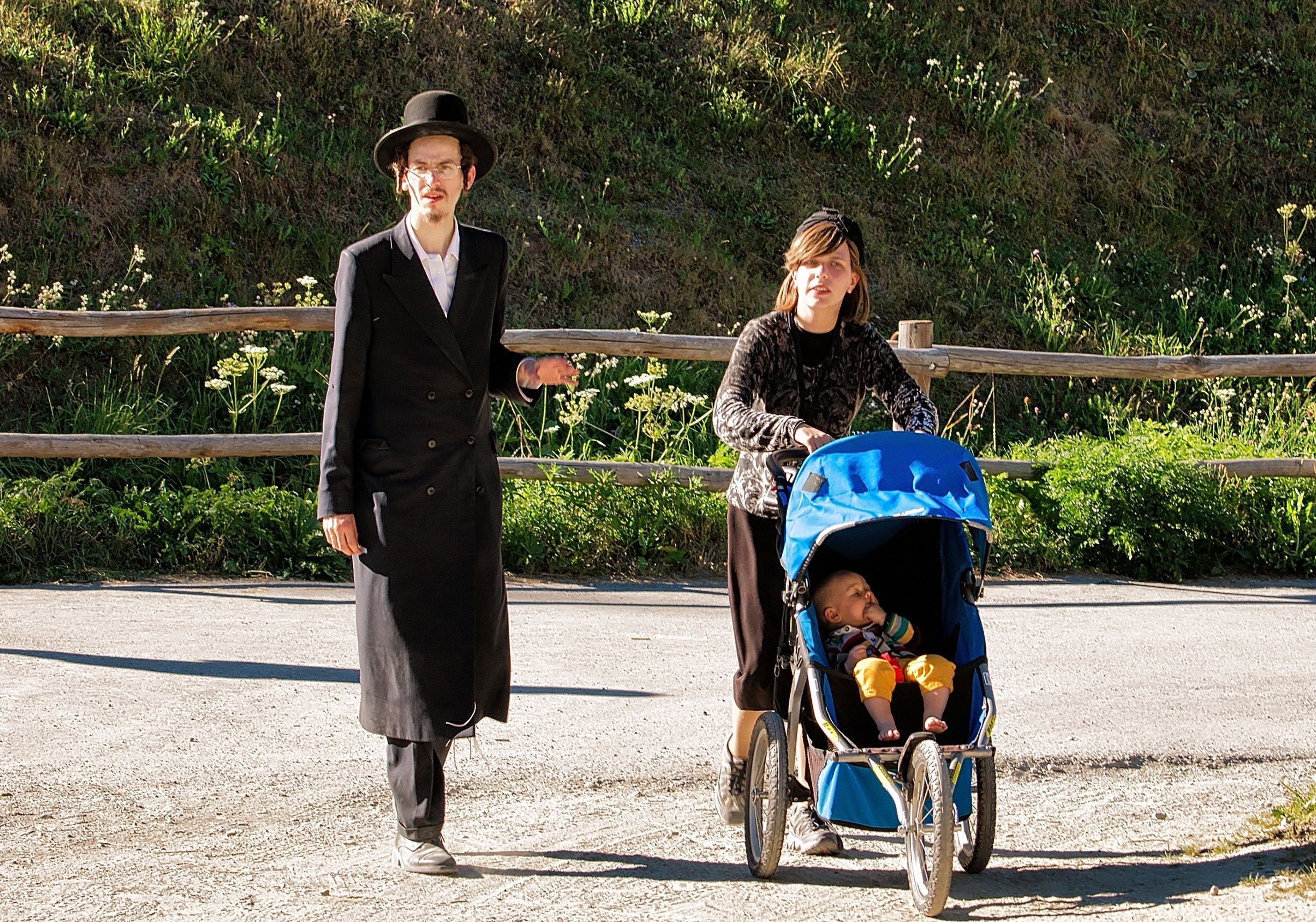 Hasidic family on holiday in the Swiss Alps.