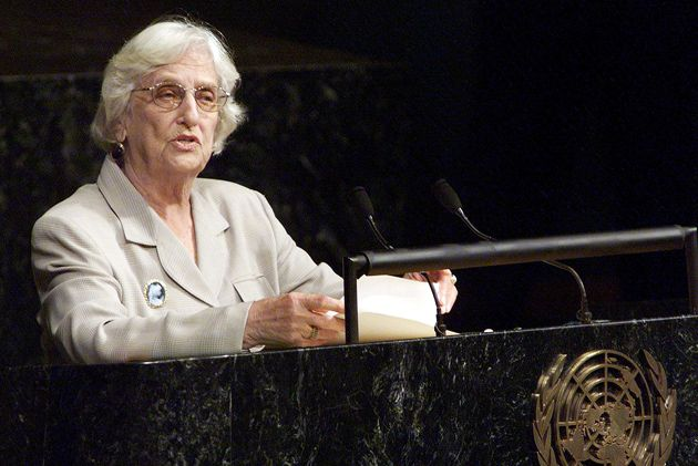 Born in Chicago: Guyanese President Janet Jagan addresses the U.N. General Assembly in 1998. In a 1997 interview, she linked her ?interest in the underdog and helping out the impovervished of the world? to her Jewish background, particularly her father?s experience of antisemitism.