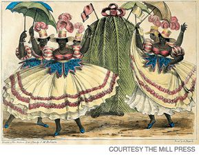 WINTER IN JAMAICA: During the Jonkonnu festivities, all would celebrate in temporary equality. This lithograph is ?Red Set Girls? from Sketches of Character, 1837.