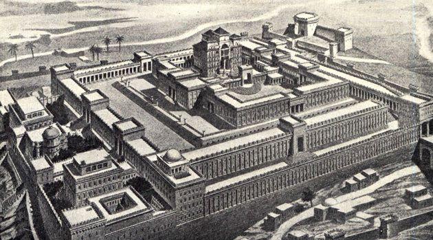 Solomon?s Temple: A sketch based on Bible descriptions.