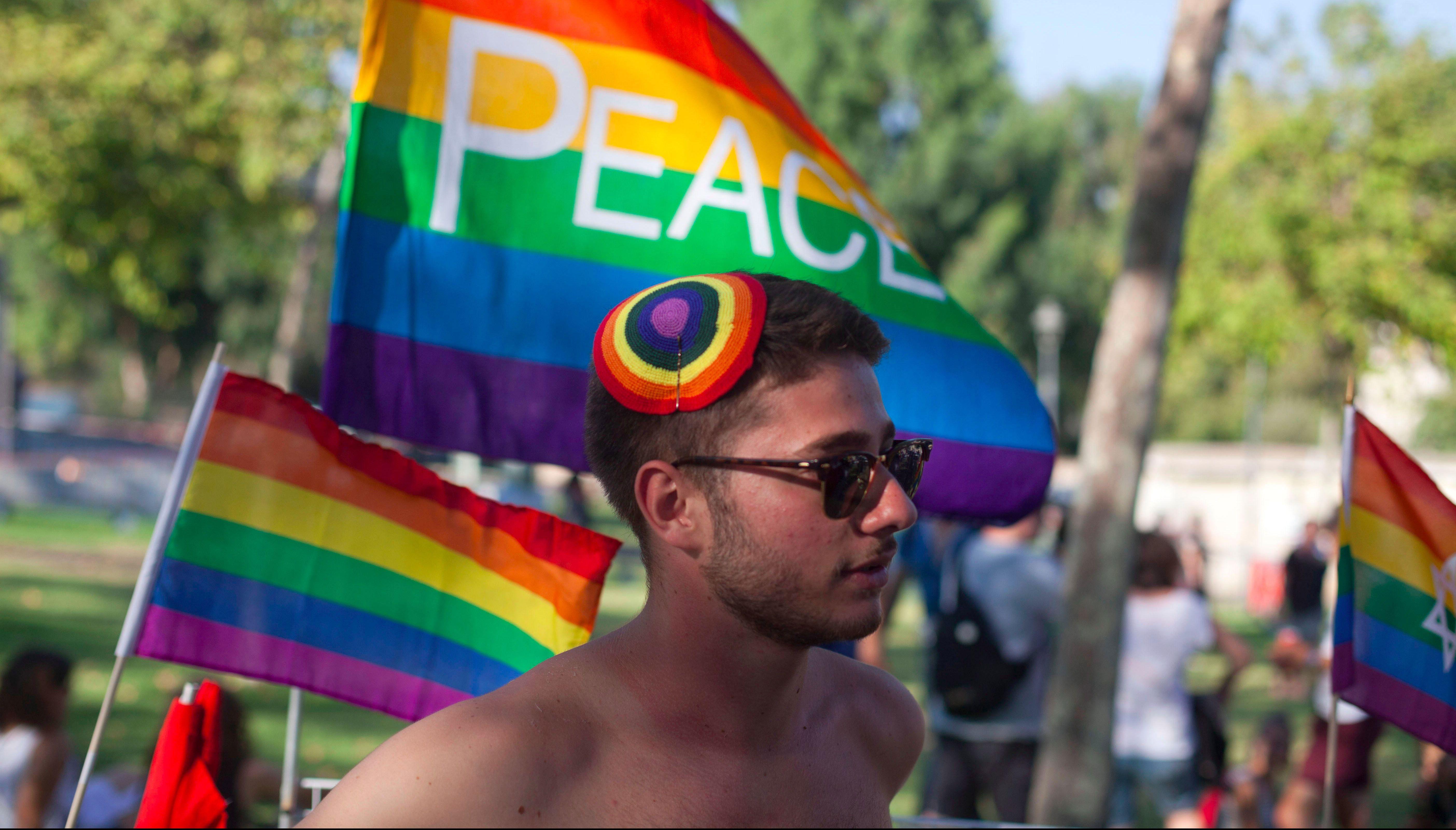 A marcher at the 2015 Jerusalem pride march.