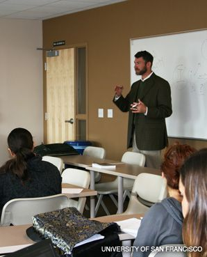 LESSONS LEARNED: Rabbi Micah Hyman was a guest speaker in a class titled ?Jews, Jewish Texts, and Social Justice Activists,? held this semester at the University of San Francisco.