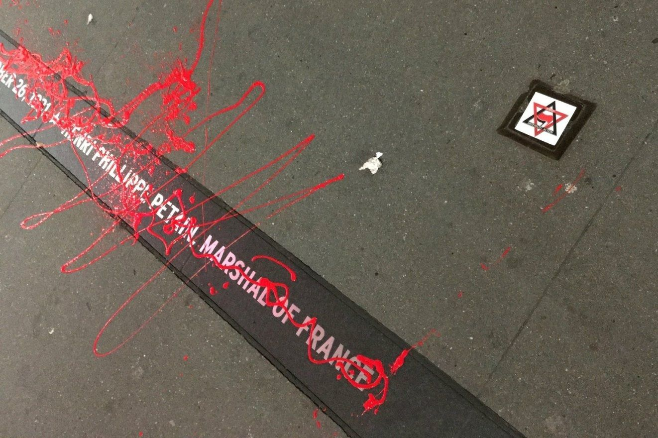 The antifa group Jewish Antifascist Action vandalized a plaque in New York honoring Nazi collaborator Philippe Petain. Photo Jewish Antifascist Action