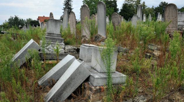 Jewish tombstones toppled at Jewish cemetery of Kaposvar, about 200 km south-west from Budapest.