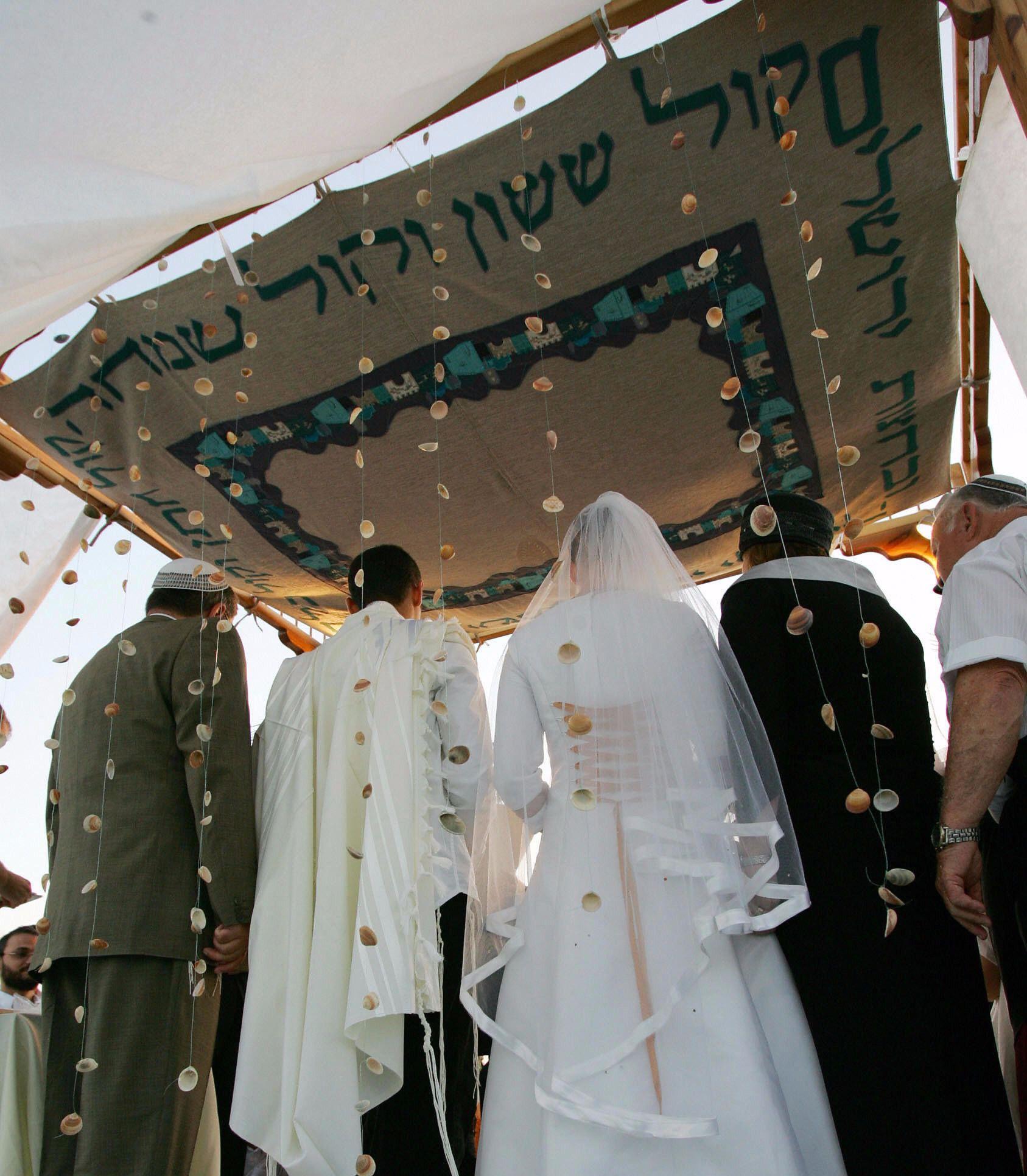 A Jewish wedding ceremony.