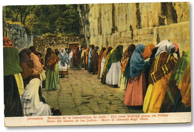 A Snapshot in Time Rukhl Schaechter writes about a collection of historic postcards written by tourists visiting the Western Wall in Jerusalem early in the 20th century. The messages were not all positive. An American named Bella wrote on the back of this postcard in 1927: ?This is a picture where they go to wail. It is so funny.? See story on Page 10.