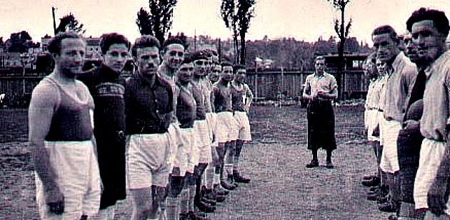 Soccer and the Shoah: Jill Klein's father is second from left with his team members in a displaced person's camp in Austria, wearing a sweater as his goalkeeper's jersey.