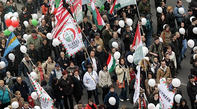 Members of the ultra-nationalist Jobbik party gather for a rally.