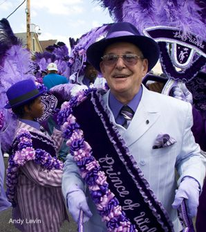 FIRST IN LINE: Joe 'White Boy' Stern presides over a procession of the Prince of Wales club, the first time in memory that a white person has headed up a brass-band 'second line' parade for one of New Orleans's traditional black social clubs