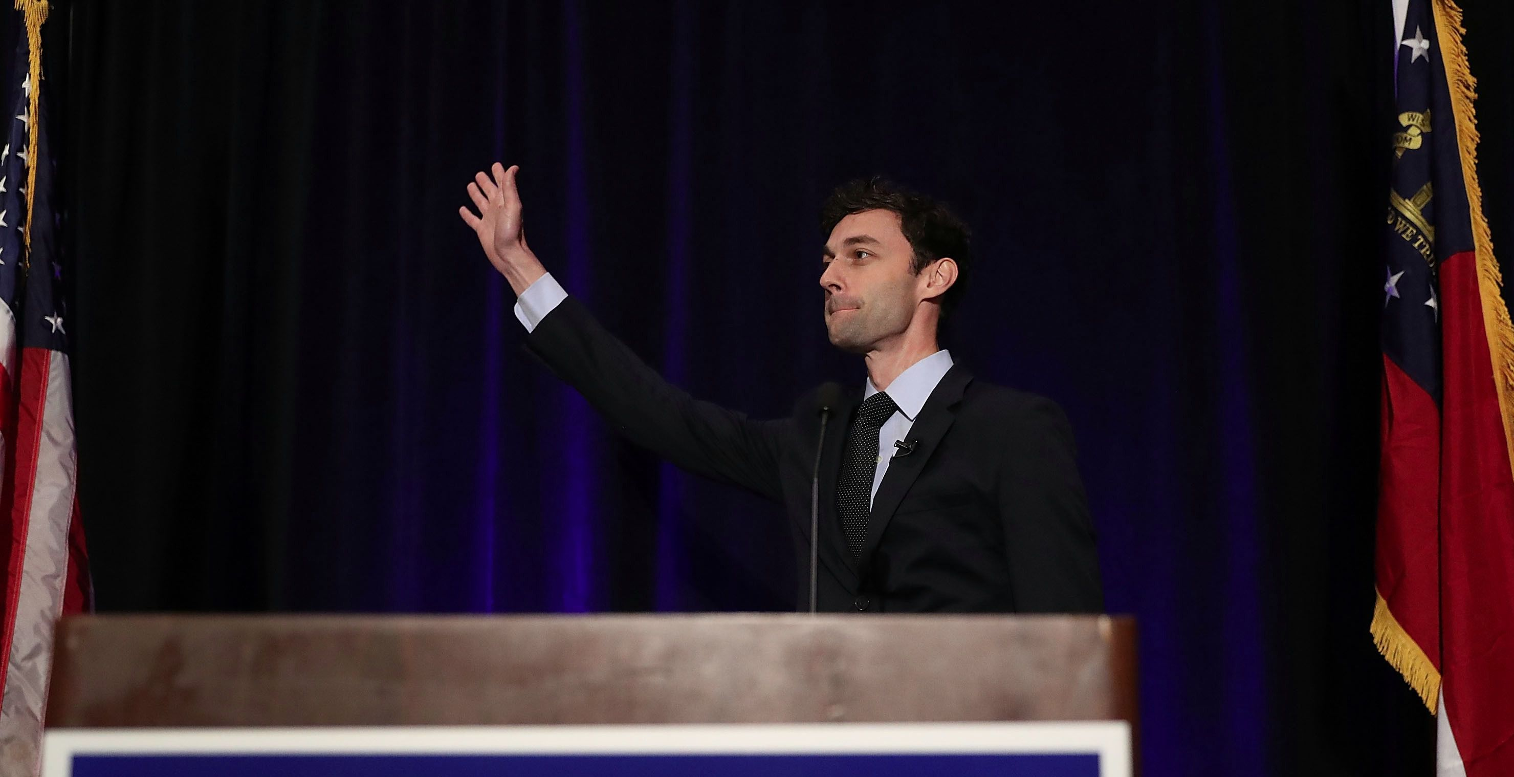 Democratic candidate Jon Ossoff speaks to his supporters in Georgia's 6th Congressional District as votes in the first round of the special election continue to be counted.