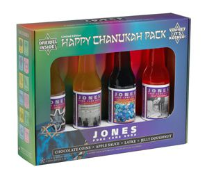 The Hanukkah sodas come in latke and jelly doughnut flavors