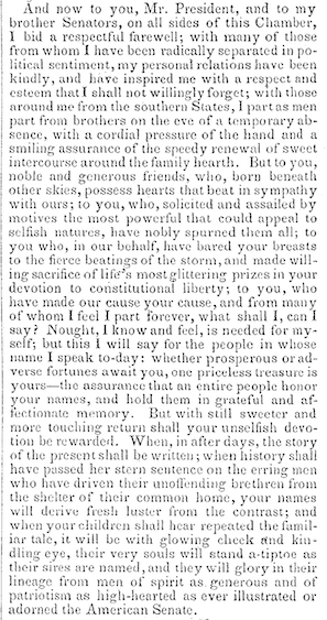 The final paragraph of Benjamin's 1861 farewell speech to the U.S. Senate.