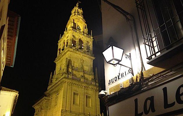 Juderia: A night-time scene in the historic district of Córdoba, Spain