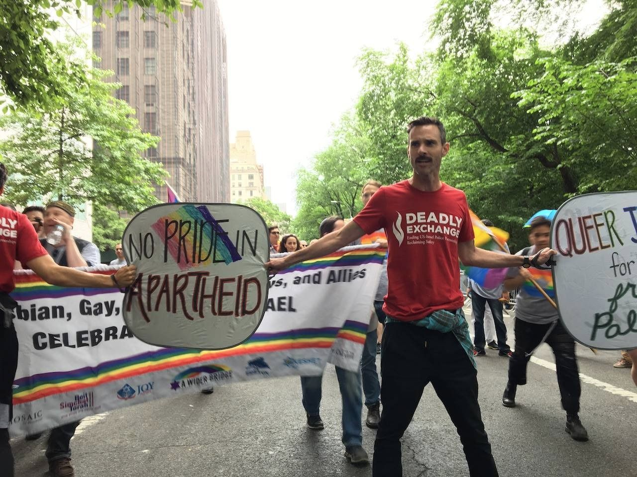 Craig Willse, a member of JVP, participating in the group's disruption of the Celebrate Israel Parade on June 4th.