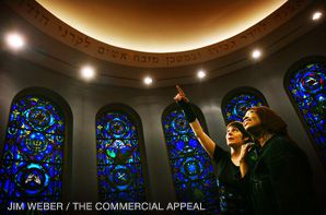 SEEING THE LIGHT: Dvorah Bat-Zion (left) explains a biblical inscription inside Beth Shalom Synagogue in Memphis to Yedideia Israel (right), one of a group of 55 Africal Americans from Nairo, Ill., who converted to Judaism earlier this month