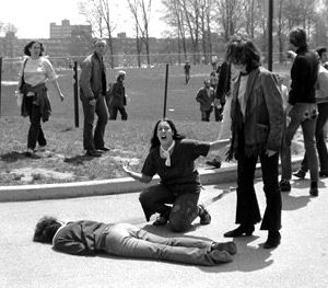 ?Four Dead in Ohio?: Mary Ann Vecchio screams as she kneels over the body of student Jeffrey Miller during an anti-war demonstration on May 4, 1970.
