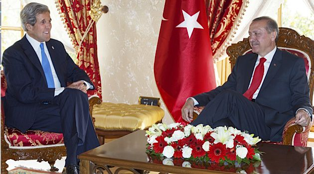 John Kerry meets with Turkish Prime Minister Recep Tayyip Erdogan in Istanbul.