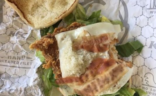 A sandwich with bacon served to Muslim customers at a Michigan KFC.