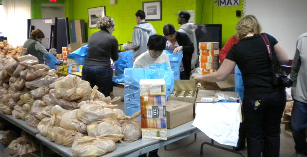 More in Need: Volunteers assemble Passover packages in New York City.
